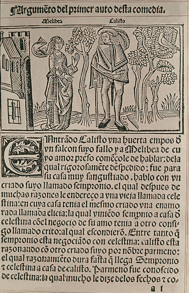 PORTADA DE LA CELESTINA - CALISTO Y MELIBEA EN EL PRINCIPIO DEL ACTO 1 - BURGOS, 1499. Author: ROJAS FERNANDO DE. Location: HISPANIC SOCIETY OF AMERICA, NEW YORK, USA. : Stock Photo