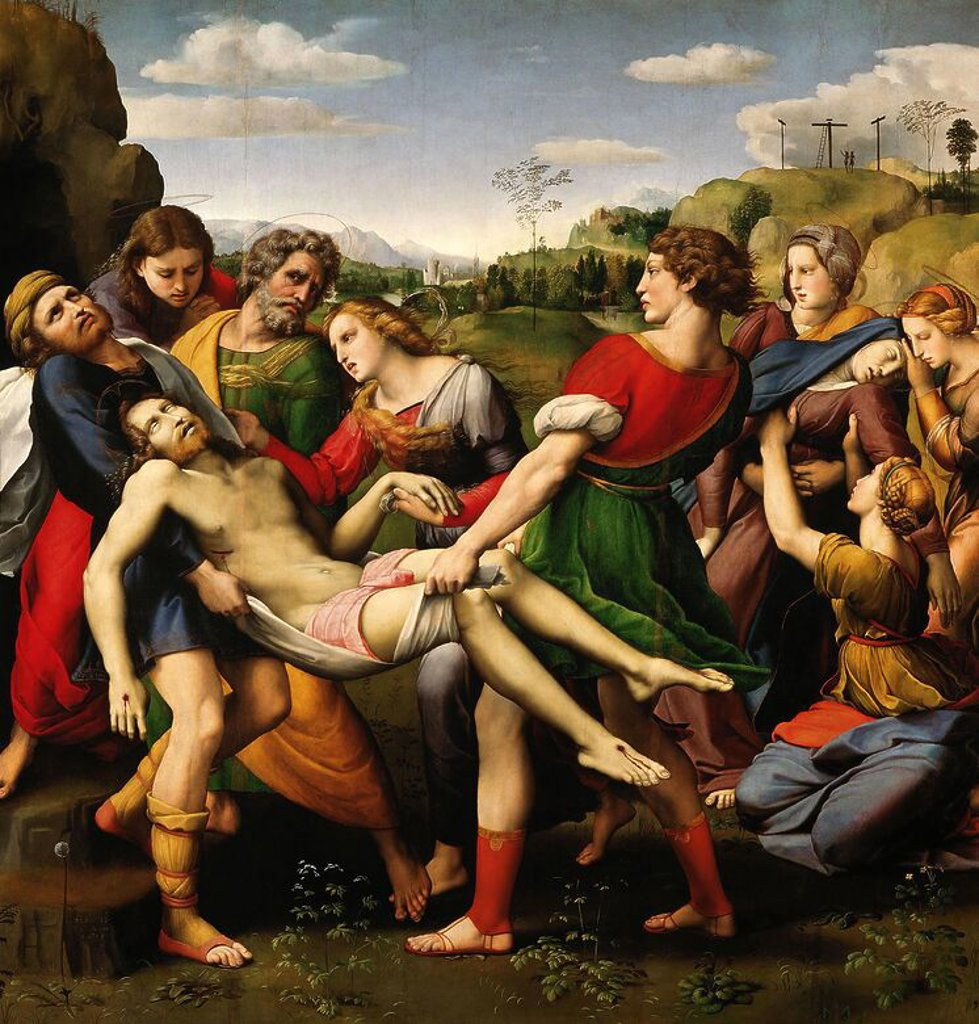 Stock Photo: 4409-130804 Raphael / 'The Deposition (Pala Baglione)', 1507, Oil on wood, 184 x 176 cm. Artwork also known as: Traslado de Cristo o Deposición Borghese. Museum: GALLERIA BORGHESE.