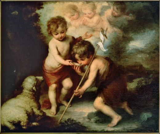 Stock Photo: 4409-130879 Bartolomé Esteban Murillo / 'The Holy Children with a Shell', 1670-1675, Oil on canvas, 104 x 124 cm, P00964. Artwork also known as: Los niños de la concha. Museum: MUSEO DEL PRADO.