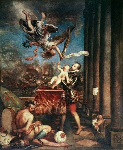 Stock Photo: 4409-130918 Titian / 'Following Victory at Lepanto, Felipe II offers Prince Fernando to Heaven', 1573-1575, Oil on canvas, 335 × 274 cm, P00431. Artwork also known as: Felipe II, después de la Victoria de Lepanto, ofrece al Cielo al príncipe don Fernando. Museum: MUSEO DEL PRADO.
