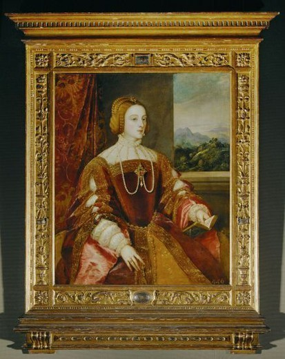 Titian / 'Empress Isabel of Portugal', 1548, Oil on canvas, 117 × 98 cm, P00415. Artwork also known as: La emperatriz Isabel de Portugal. Museum: MUSEO DEL PRADO. : Stock Photo