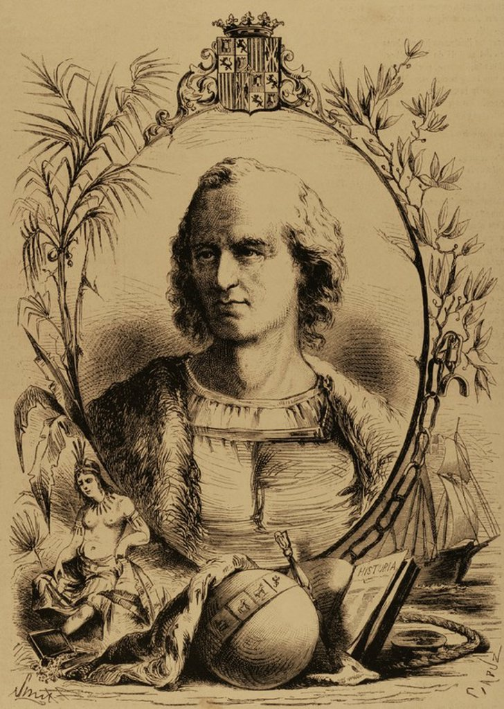 Christopher Columbus (1451-1506). Genoese navigator. Engraving by Capuz (1834-1899). The Spanish and American Illustration, 1870. : Stock Photo