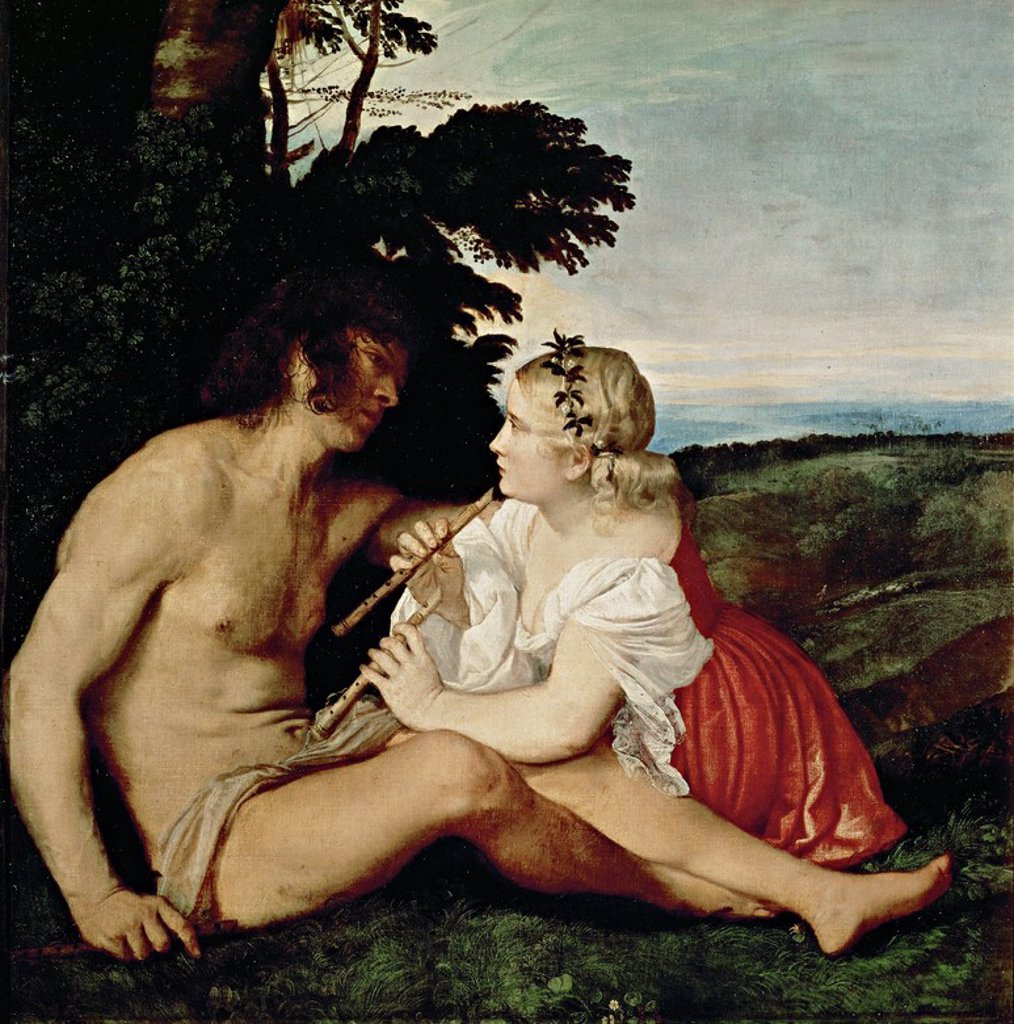 Stock Photo: 4409-131281 Tiziano / 'Daphnis and Chloe, The Three Ages. Detail', 1511-1516, Oil on canvas. Artwork also known as: Dafnis y Cloe, alegoría de las tres edades de la vida. Detalle. Museum: NATIONAL GALLERY OF SCOTLAND.