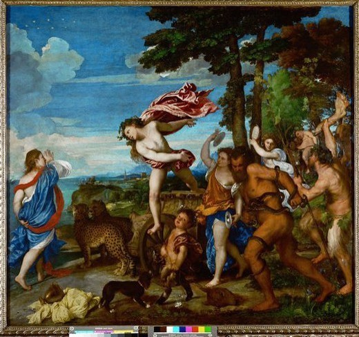 Titian / 'Bacchus and Ariadne', 1520-1523, Oil on canvas, 176.5 × 191 cm. Artwork also known as: Baco y Ariadna. Museum: NATIONAL GALLERY. : Stock Photo