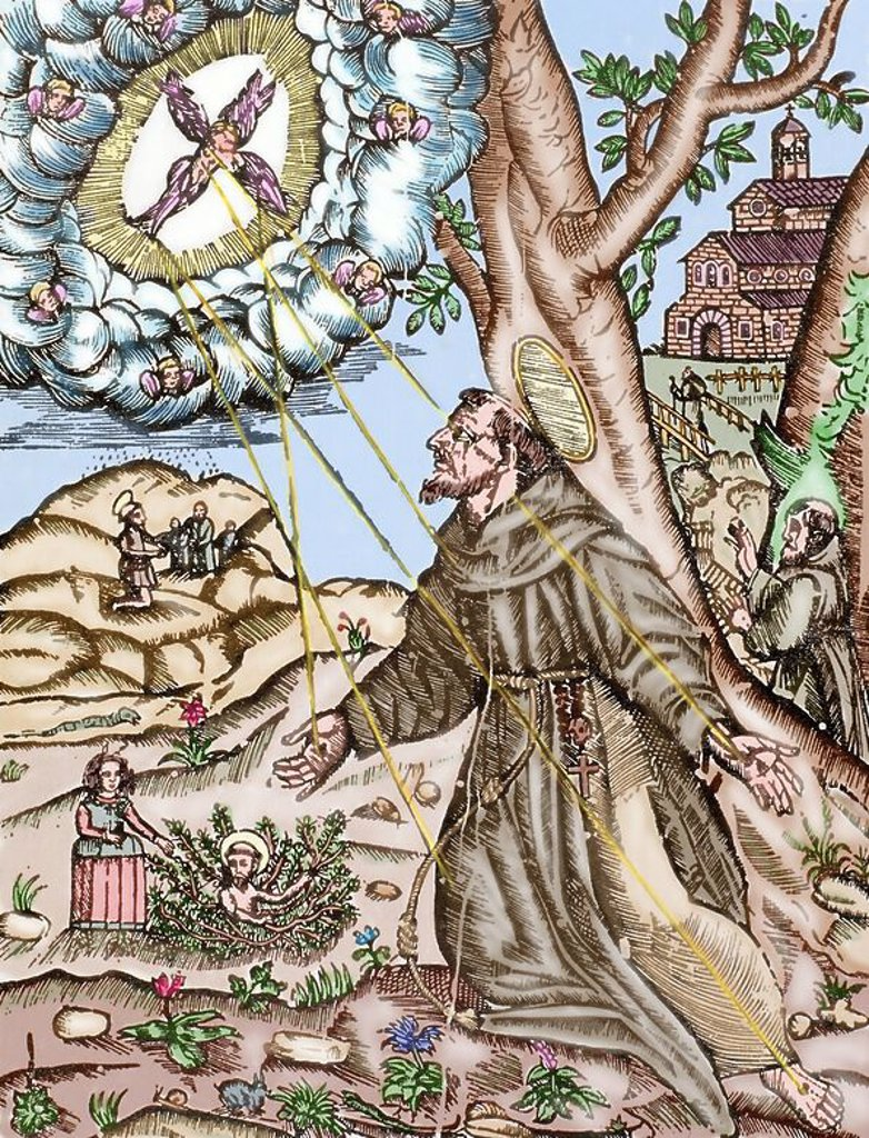Stock Photo: 4409-131344 Saint Francis of Assisi (1181/82-1226) recives the Stigmata while he was praying on the mountain of Verna. Colored engraving.