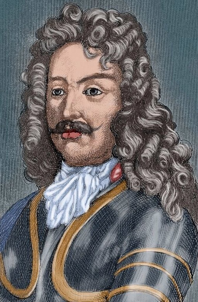 James FitzJames, 1st Duke of Berwick (1670-1734). French military. Colored engraving on History of Spain, 1882. : Stock Photo