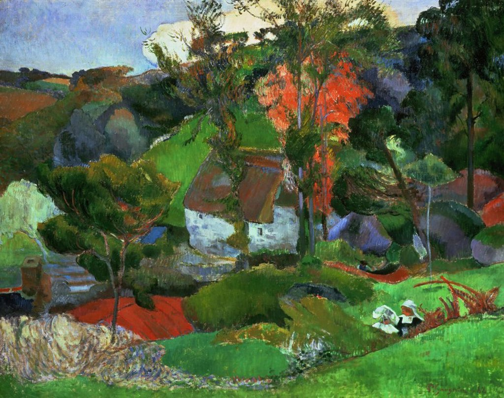 Stock Photo: 4409-131449 Paul Gauguin / 'Aven running through Pont-Aven', 1888, Oil on canvas. Artwork also known as: Paisaje de Pont-Aven. Museum: COLECCION PRIVADA.