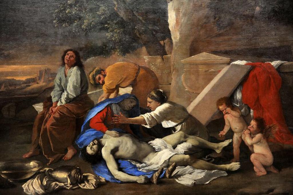 """Stock Photo: 4409-131997 ARTE BARROCO. CLASICISMO. FRANCIA. Nicolas Poussin (Les Andelys, Normandía, 15 de junio de 1594-Roma, 19 de noviembre de 1665) fue un pintor francés, uno de los más destacados de la escuela clasicista. """"Lamentación sobre el cuerpo de Cristo"""". 1628-1629. Oleo. Alte Pinakothek. Munich. Alemania."""