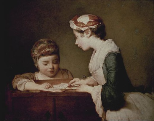 Stock Photo: 4409-13235 The Young Schoolmistress - 1740 - 61,6x66,7 cm - oil on canvas. Author: CHARDIN, JEAN BAPTISTE SIMEON. Location: NATIONAL GALLERY, WASHINGTON D. C., USA. Also known as: JOVEN INSTITUTRIZ.