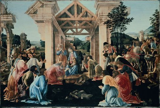 The Adoration of the Magi - 1480 - 68x102 cm - tempera and oil on panel. Author: BOTTICELLI, SANDRO. Location: NATIONAL GALLERY, WASHINGTON D. C., USA. Also known as: ADORACION DE LOS MAGOS. : Stock Photo