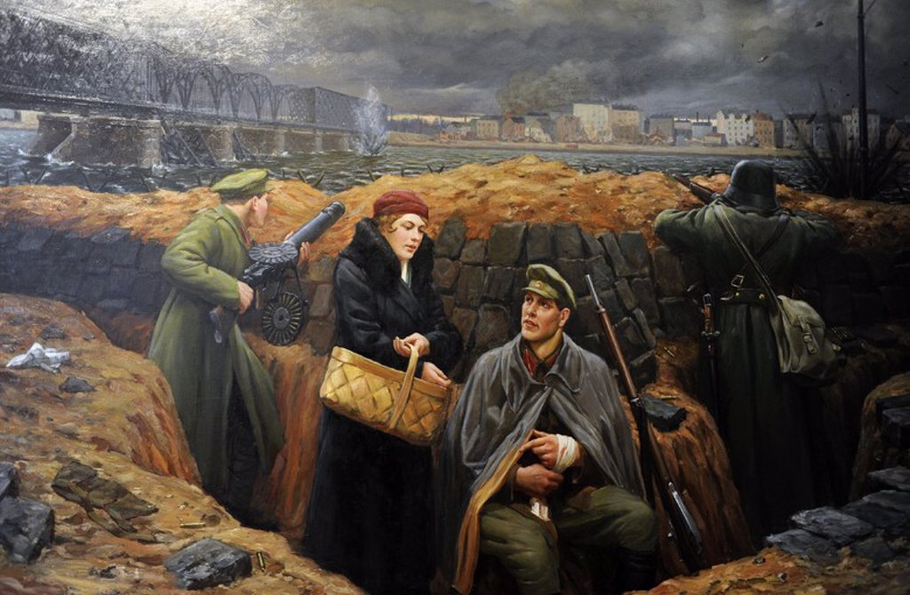 O. Grunde. Trenches in the Iron Bridge, 1934. Museum of History and Navigation. Riga. Latvia. : Stock Photo