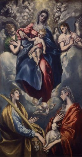 Stock Photo: 4409-13271 VIRGEN CON SANTA INES Y SANTA MARTINA - 1597-1599 - PINTURA MANIERISTA - ESCUELA ESPAÑOLA. Author: EL GRECO. Location: NATIONAL GALLERY, WASHINGTON D. C., USA.