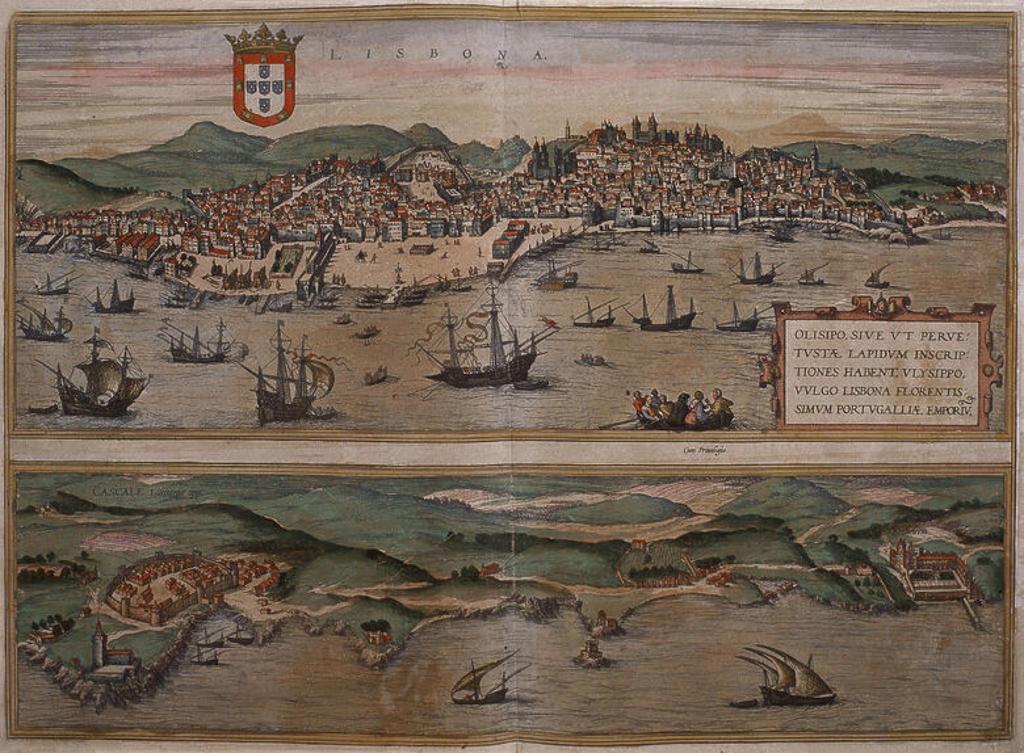 Stock Photo: 4409-13374 CIVITATES ORBIS TERRARUM - LISBOA Y CASCAIS - GRABADO - SIGLO XVI. Author: BRAUN GEORG 1541-1622 / HOGENBERG FRANS. Location: BIBLIOTECA NACIONAL-COLECCION, MADRID, SPAIN.