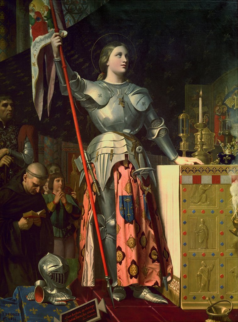 Stock Photo: 4409-13436 Joan of Arc (1412-31) at the Coronation of King Charles VII (1403-61) 17th July 1429 - 1854 - 240x178 cm - oil on canvas - French Historicism. Author: INGRES, JEAN AUGUSTE DOMINIQUE. Location: LOUVRE MUSEUM-PAINTINGS, PARIS. Also known as: UANA DE ARCO EN LA CONSAGRACION DE CARLOS VII.