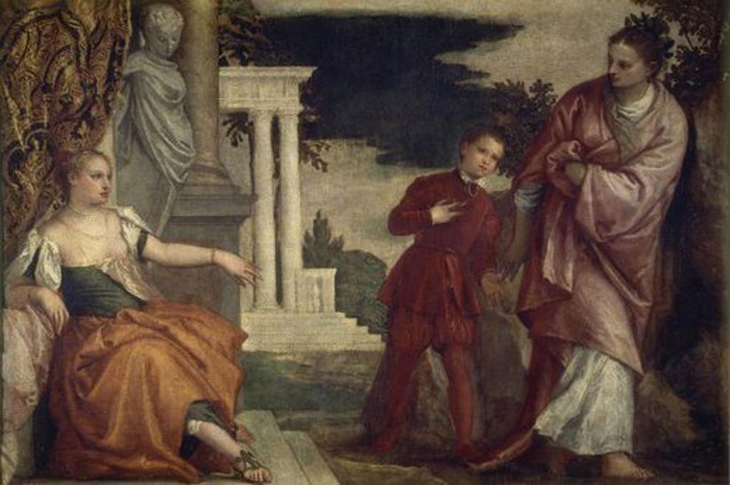 JOVEN ENTRE LA VIRTUD Y EL VICIO - 1580 - OLEO/LIENZO - 102 x 153 cm - NP 499 - MANIERISMO ITALIANO. Author: VERONES PABLO / VERONESE PAOLO. Location: MUSEO DEL PRADO-PINTURA, MADRID, SPAIN. : Stock Photo
