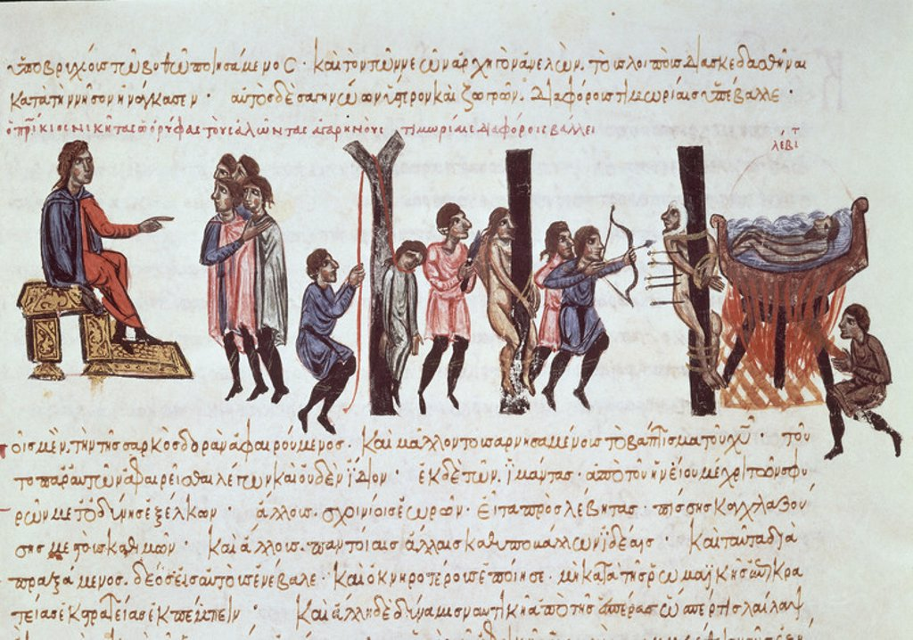 Stock Photo: 4409-13901 FLOTA ARABE Y AFRICANA - MINIATURA SIGLO XII. Author: SKYLITZES JOHN O SCYLITZA IOANNES. Location: BIBLIOTECA NACIONAL-COLECCION, MADRID, SPAIN.