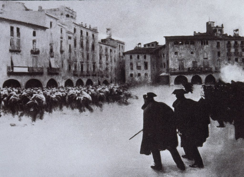 Stock Photo: 4409-13917 FOTOGRAFIA DE UNA PINTURA QUE REPRESENTA LA SEMANA TRAGICA DE 1909. Location: BIBLIOTECA NACIONAL-COLECCION, MADRID.