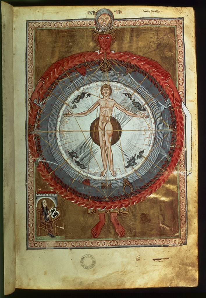 CODEX LATINUM-LIBRO DE LAS OBRAS DIVINAS-S XIII-1942 PG 9R-HOMBRE CENTRO UNIVERSO. Author: SANTA HILDEGARDA DE BINGEN. Location: BIBLIOTECA ESTATAL, LUCCA, ITALIA. : Stock Photo
