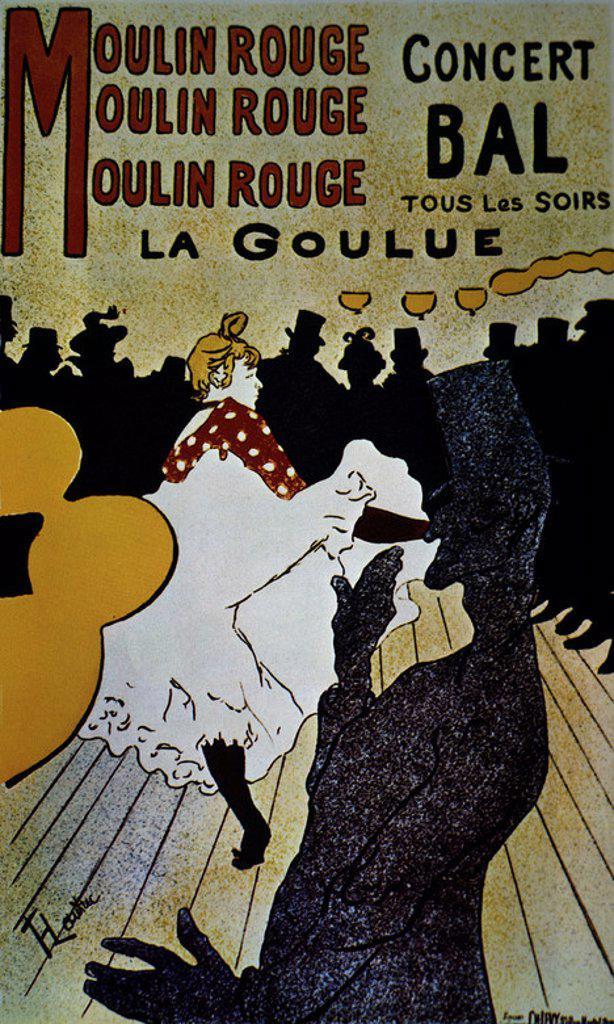 Stock Photo: 4409-13990 Moulin Rouge: La Goulue - 1891 - 191x117 cm - colour lithograph. Author: TOULOUSE-LAUTREC, HENRI DE. Location: MUSEO TOULOUSE LAUTREC, ALBI, FRANCE. Also known as: EL MOLINO ROJO-LA GOULUE.