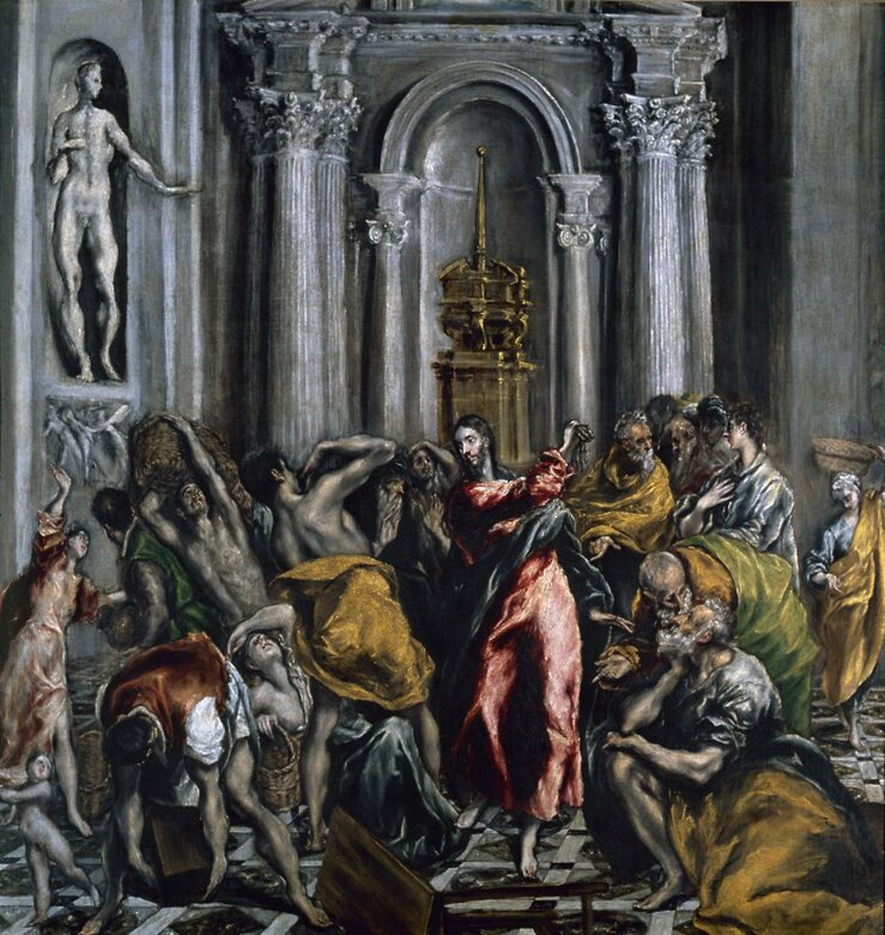 Stock Photo: 4409-14006 Jesus Driving the Merchants from the Temple - 1610/14 - 106x104 cm - oil on canvas. Author: EL GRECO. Location: IGLESIA DE SAN GINES, MADRID, SPAIN. Also known as: EXPULSION DE LOS MERCADERES.