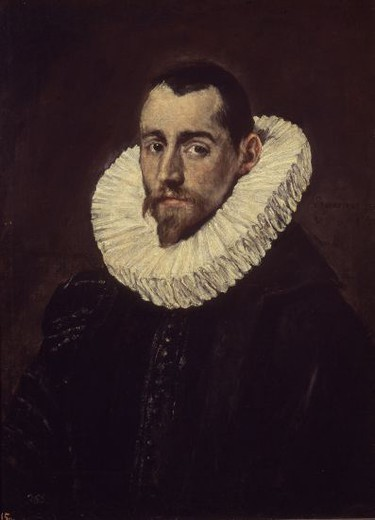 Portrait of a young knight - 1601/14 - 65x49 cm - oil on canvas - NP 811. Author: EL GRECO. Location: MUSEO DEL PRADO-PINTURA, MADRID, SPAIN. Also known as: CABALLERO JOVEN. : Stock Photo