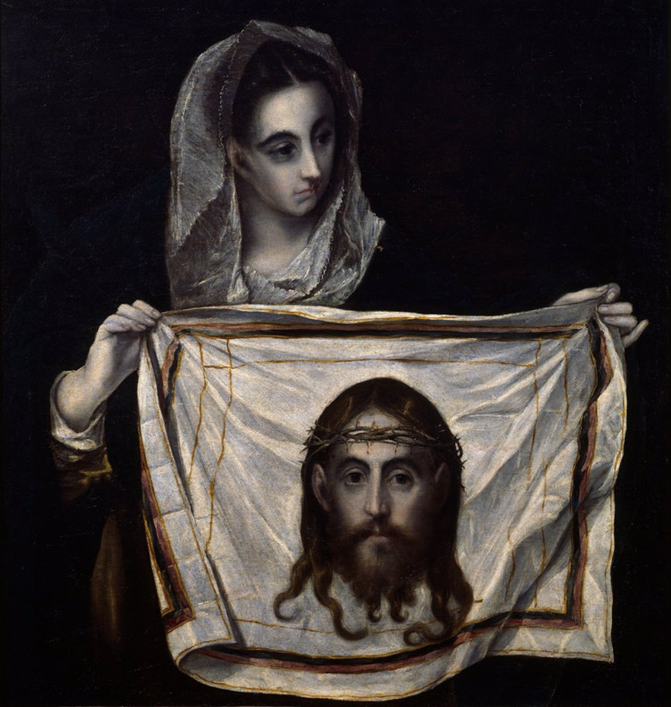 Stock Photo: 4409-14044 St.Veronica with the Holy Shroud - 1577/80 - 91x84 cm - oil on canvas. Author: EL GRECO. Location: MUSEO HOSPITAL DE SANTA CRUZ, TOLEDO, SPAIN. Also known as: LA VERONICA.