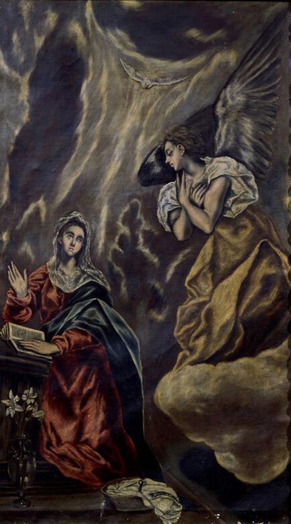 Stock Photo: 4409-14048 The Annunciation - 1603-1607 - 152x99 - oil on canvas - Mannerism. Author: EL GRECO. Location: MUSEO HOSPITAL DE SANTA CRUZ, TOLEDO, SPAIN. Also known as: ANUNCIACION; LA ANUNCIACION.