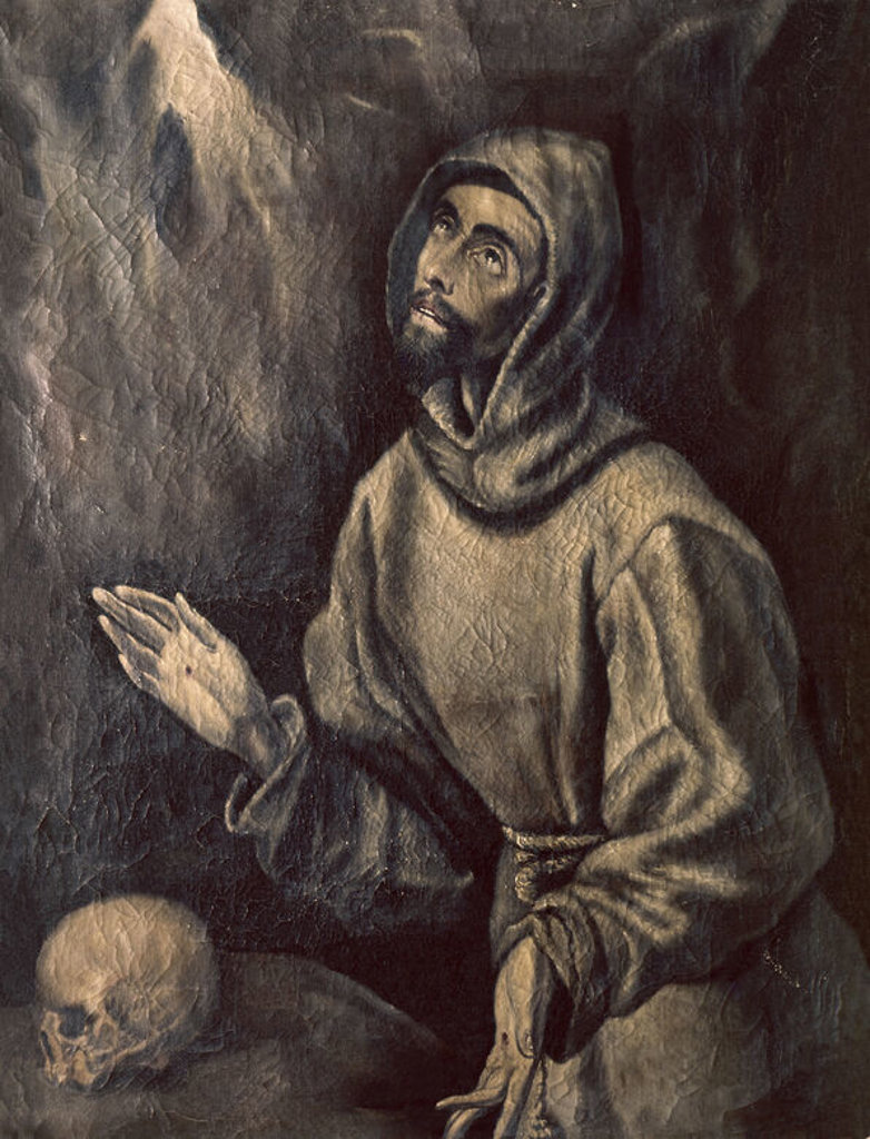 Stock Photo: 4409-14049 St. Francis of Assisi Receiving the Stigmata - ca. 1595 - 76x57 cm - oil on canvas - Spanish Mannerism. Author: EL GRECO. Location: MUSEO HOSPITAL DE SANTA CRUZ, TOLEDO, SPAIN. Also known as: SAN FRANCISCO DE ASIS EN EXTASIS; SAINT FRANCOIS D'ASSISE RECEVANT LES STIGMATES.