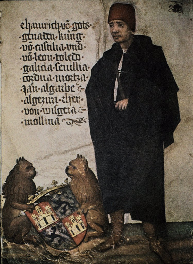 ENRIQUE IV DE CASTILLA (1425-1474) - AUTOBIOGRAFIA DEL CABALLERO GEORG VON EHINGEN - 1428-1508 - FOL 85r - DIBUJO A PLUMA COLOREADO SOBRE PERGAMINO. Location: WÜRTTEMBERGISCHE LANDESBIBLIOTHEK, STUTTGART, DEUTSCHLAND. : Stock Photo