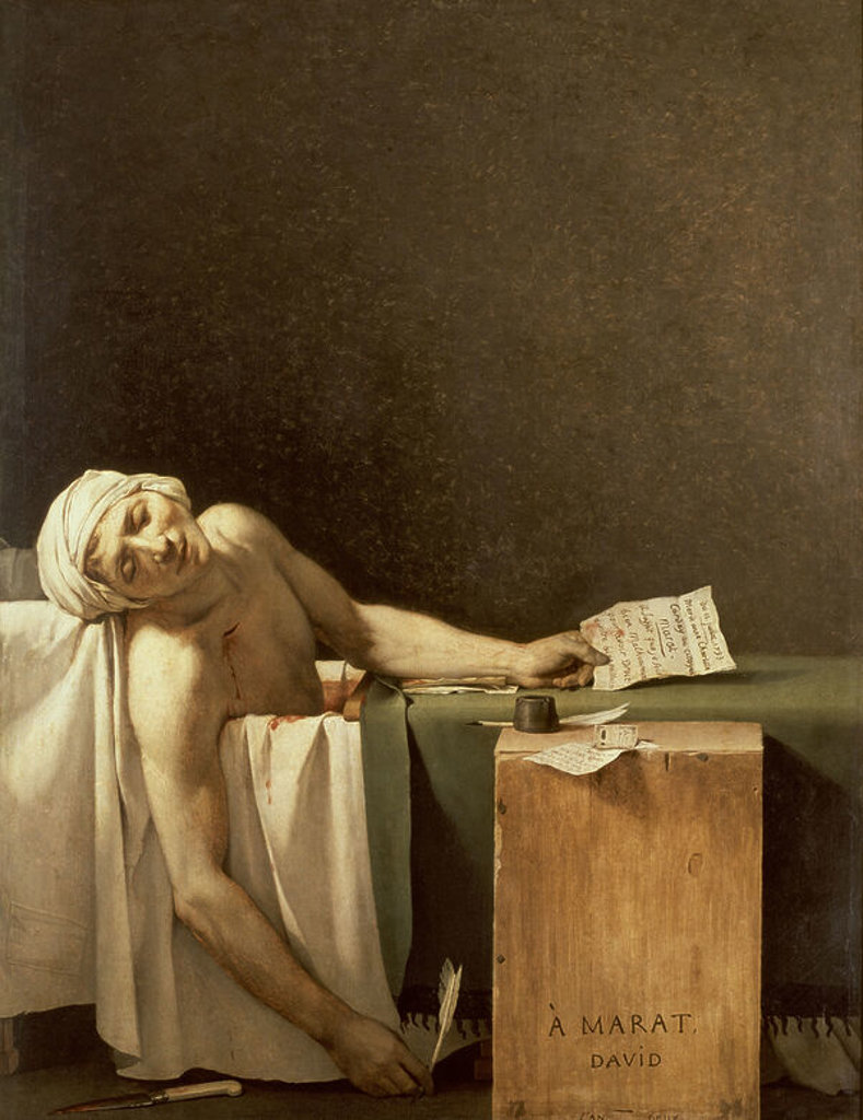 Stock Photo: 4409-14079 French neoclassical school. The Death of Marat (1743-1793) journalist, French revolutionary politician. Muerte de Marat. Brussels, Fine Art Museum. Author: DAVID, JACQUES LOUIS. Location: MUSEOS REALES DE BELLAS ARTES, BRÜSSEL, BELGIEN.