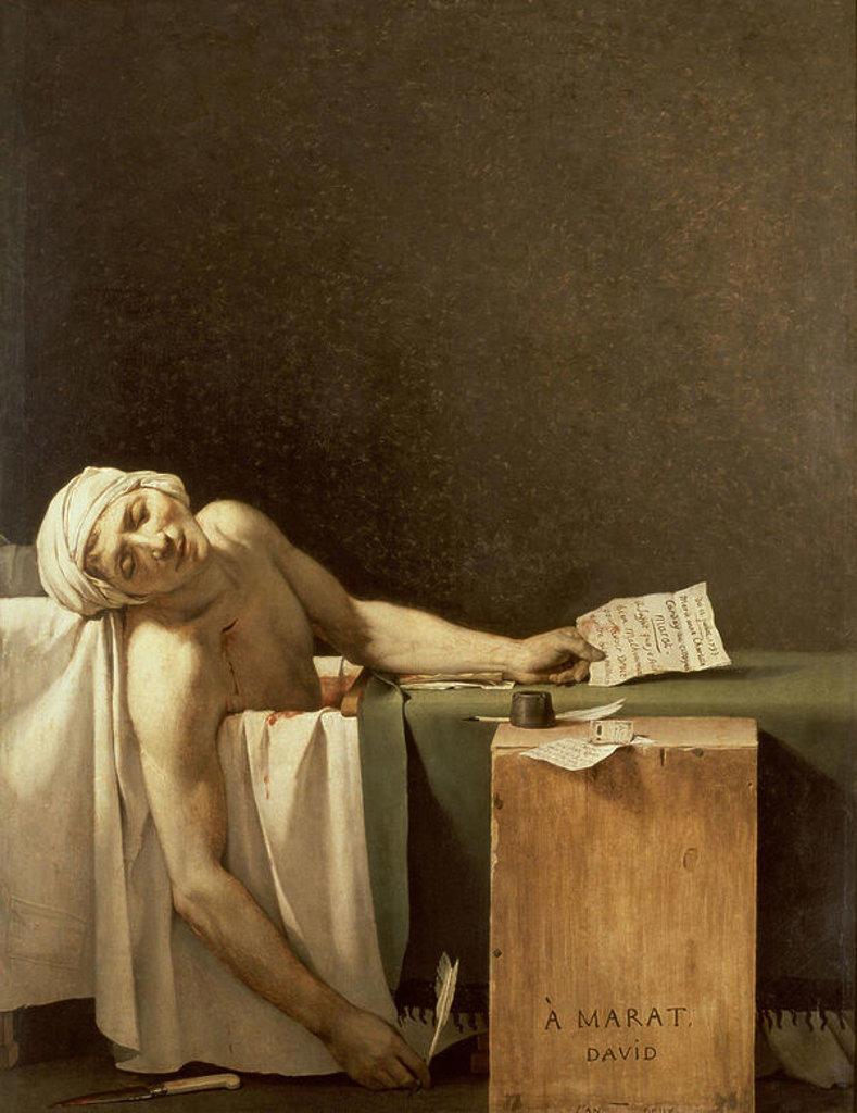 French neoclassical school. The Death of Marat (1743-1793) journalist, French revolutionary politician. Muerte de Marat. Brussels, Fine Art Museum. Author: DAVID, JACQUES LOUIS. Location: MUSEOS REALES DE BELLAS ARTES, BRÜSSEL, BELGIEN. : Stock Photo