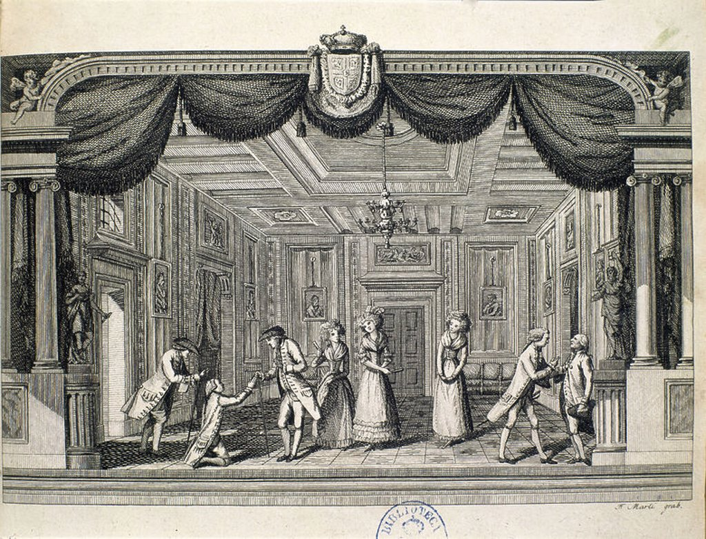 Stock Photo: 4409-14121 EL RIVAL DE SU AMO - COMEDIA EN UN ACTO Y EN PROSA - ESCENA TEATRAL - GRABADO - AÑO 1791. Author: LESAGE ALAIN-RENE. Location: BIBLIOTECA NACIONAL-COLECCION, MADRID, SPAIN.