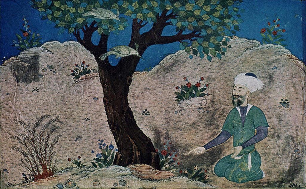 Stock Photo: 4409-14131 LIBRO KALILA Y DIMNA - FABULA DEL ANCIANO Y LOS PAJAROS HACIA 300 DC - MANUSCRITO SIGLO XIV. Author: BIDPAI. Location: B GULISTAN PALACE, TEHERAN, IRAN.