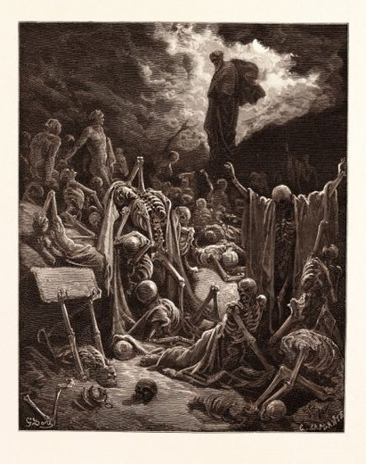 Stock Photo: 4409-141785 THE VISION OF THE VALLEY OF DRY BONES, EZEKIEL BY GUSTAVE DORÉ. Dore, 1832 - 1883, French. 1870, Art, Artist, romanticism, colour, color engraving, becoming alive, bone, dead, death, ezechiel, metamorphosis, prophet, prophetic, resurrection, romantic, skeleton, vision.