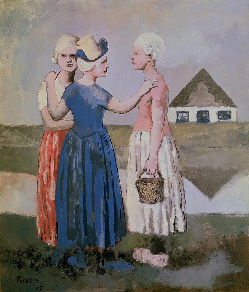 Stock Photo: 4409-14314 Three Dutch Girls - 1905 - gouache on paper. Author: PICASSO, PABLO. Location: CENTRO GEORGES POMPIDOU, PARIS, FRANCE. Also known as: LAS TRES HOLANDESAS.