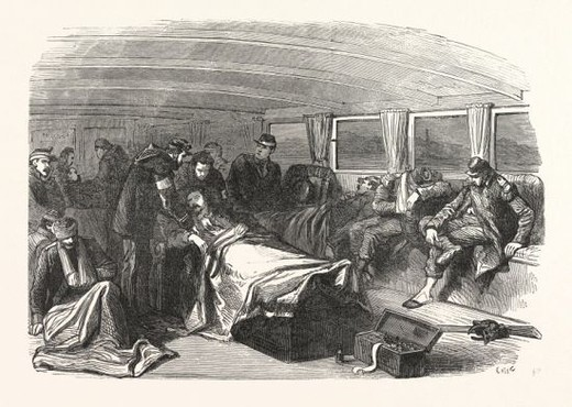 Stock Photo: 4409-143427 Franco-Prussian War: transport wounded at Champigny on a steamship to Paris, France.