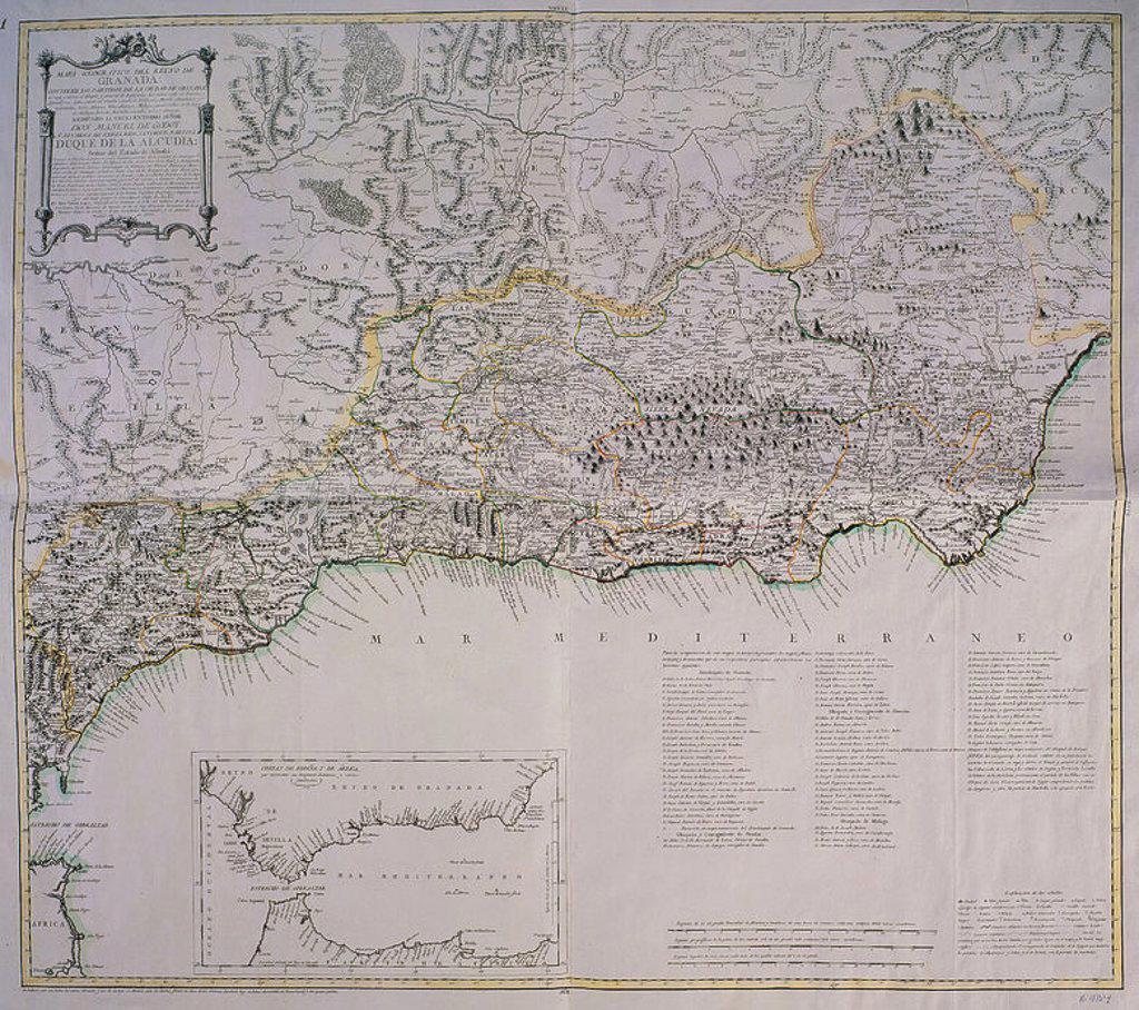 MAPA DEL REINO DE GRANADA 1767. Author: LOPEZ TOMAS. Location: BIBLIOTECA NACIONAL-COLECCION, MADRID, SPAIN. : Stock Photo