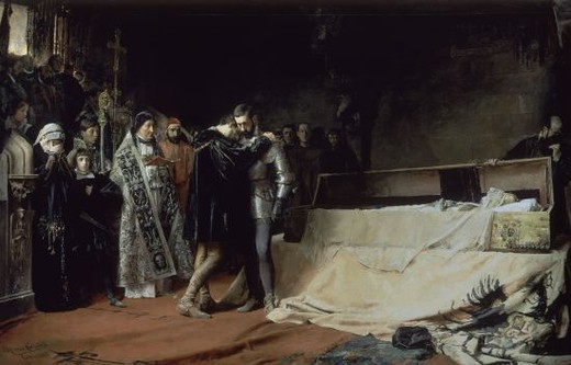 Stock Photo: 4409-14659 The Conversion of the Duke of Gandia - 1884 - oil on canvas - 315 x 500 cm - NP 6565. Author: MORENO CARBONERO JOSE. Location: MUSEO DEL PRADO-PINTURA, MADRID, SPAIN. Also known as: LA CONVERSION DEL DUQUE DE GANDIA-REPLICA.