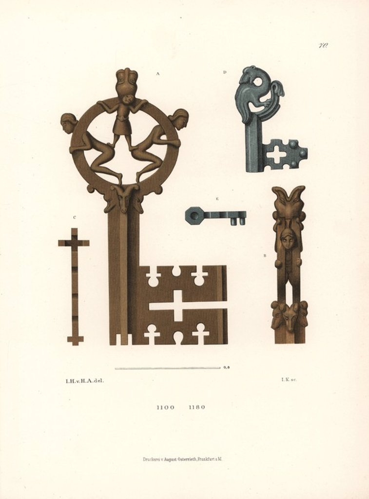 "Stock Photo: 4409-149963 Byzantine style keys in bronze from the 12th century. The large key is from St. Elizabeth's church in Marburg, the small key from the ruins of Memleben Abbey. Chromolithograph from Hefner-Alteneck's ""Costumes, Artworks and Appliances from the Middle Ages to the 17th Century,"" Frankfurt, 1879. Illustration by Dr. Jakob Heinrich von Hefner-Alteneck, lithographed by Joh. Klipphahn, and published by Heinrich Keller. Hefner-Alteneck (1811 - 1903) was a German museum curator, archaeologist, art histor"