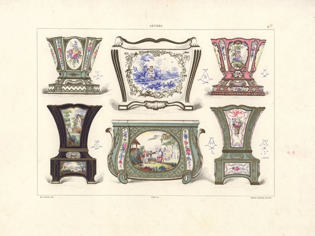 Flower pots or jardinieres: owned by Edouard Andre 1760, decorated by Vieillard 1754, owned by Baron Alphonse de Rothschild 1752, decorated by Vieillard 1759, painted by Charles-Nicolas Dodin 1760, painted by Bulidon 1764. Chromolithograph by Gillot of an illustration by Edouard Garnier from The Soft Paste Porcelain of Sevres, Maison Quantin, Paris, 1891. : Stock Photo