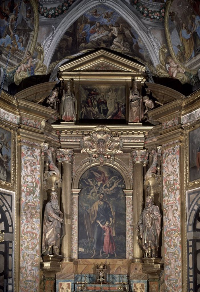 Stock Photo: 4409-15056 RETABLO MAYOR PINTURA DE S JOSE Y EL NINO. Author: EL GRECO. Location: CAPILLA DE SAN JOSE, TOLEDO, SPAIN.