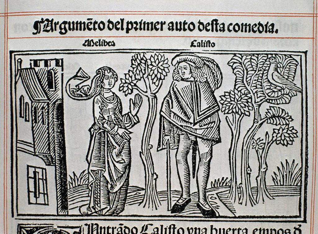Stock Photo: 4409-15071 GRABADO DE LA CELESTINA IMPRESO EN BURGOS EN 1499. Author: ROJAS FERNANDO DE. Location: BIBLIOTECA NACIONAL-COLECCION, MADRID, SPAIN.