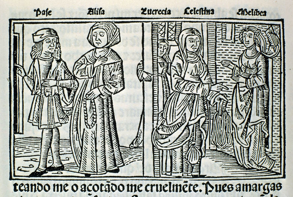 Stock Photo: 4409-15072 GRABADO DE LA CELESTINA IMPRESO EN BURGOS EN 1499. Author: ROJAS FERNANDO DE. Location: BIBLIOTECA NACIONAL-COLECCION, MADRID, SPAIN.