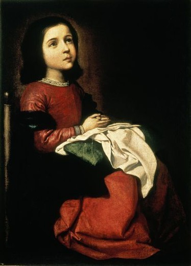 Stock Photo: 4409-15098 Spanish school. Madonna Child. Virgen Niña. 1660. Saint Petersburg, Ermitage museum. Russia. Author: ZURBARAN, FRANCISCO DE. Location: MUSEO ERMITAGE-COLECCION, ST. PETERSBURG, RUSSIA.
