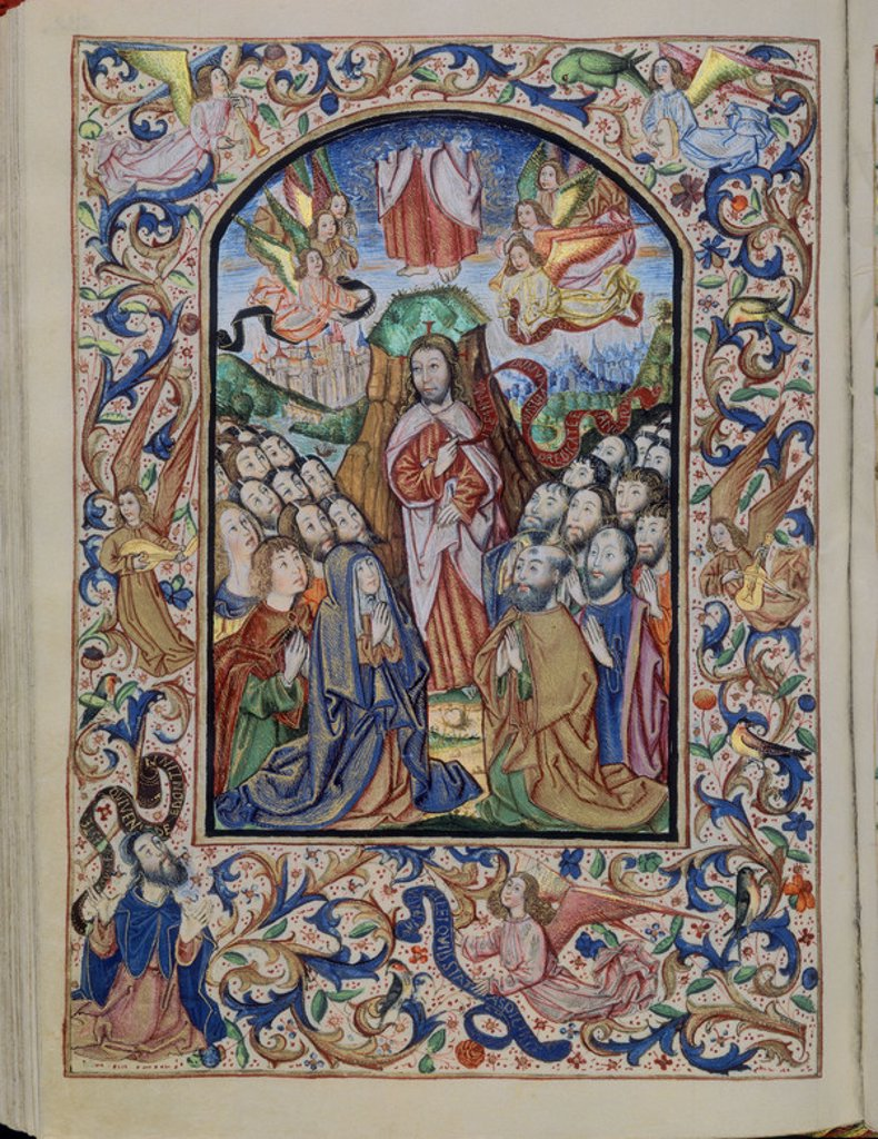 Stock Photo: 4409-15236 LIBRO DE HORAS DE ISABEL LA CATOLICA - F72V - ASCENSION DE JESUS - SIGLO XV - 21,7x14 cm. Location: MONASTERIO-BIBLIOTECA-COLECCION, SAN LORENZO DEL ESCORIAL, MADRID, SPAIN.