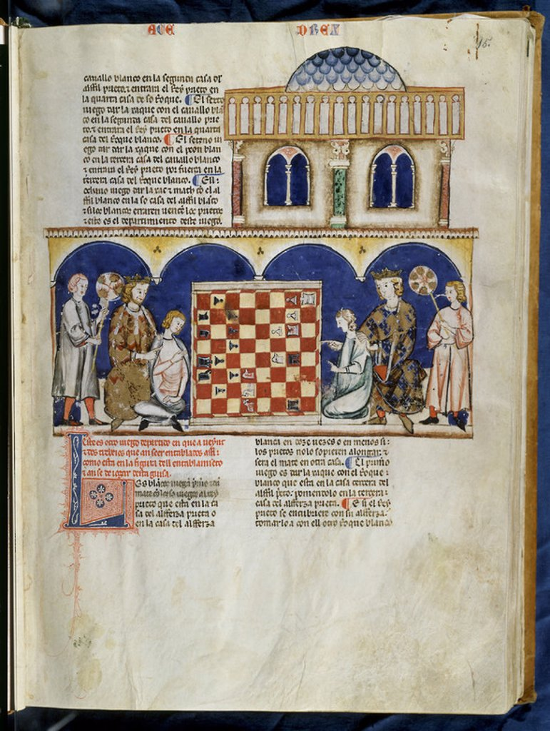 Stock Photo: 4409-15341 LIBRO DE JUEGOS O LIBRO DEL AJEDREZ DADOS Y TABLAS - 1283 - FOLIO 15R - ALFONSO X Y SU HIJO SANCHO ENSEÑANDO A UNOS JOVENES A JUGAR AL AJEDREZ. Author: ALFONSO X OF CASTILE, THE WISE. Location: MONASTERIO-BIBLIOTECA-COLECCION, SAN LORENZO DEL ESCORIAL, MADRID, SPAIN.
