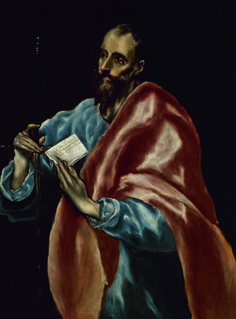 SAN PABLO APOSTOL - 1610-1614 - OLEO/LIENZO - 97 x 77 cm - MANIERISMO. Author: EL GRECO. Location: PRIVATE COLLECTION, MADRID, SPAIN. : Stock Photo