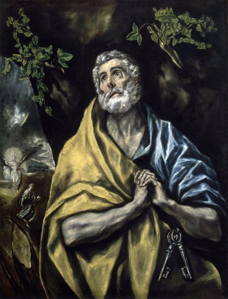 Stock Photo: 4409-15489 The Tears of St Peter - 1585/90 - 106x88 cm - oil on canvas - Spanish Mannerism. Author: EL GRECO. Location: NATIONAL GALLERY, OSLO, NORWAY. Also known as: LAS LAGRIMAS DE SAN PEDRO.