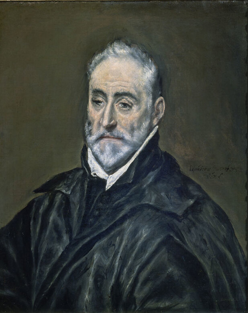 Portrait of Antonio de Covarrubias y Leiva, canon of Toledo Cathedral - ca. 1597/1602 - 68x57,5 cm - oil on canvas - Spanish Mannerism. Author: EL GRECO. Location: LOUVRE MUSEUM-PAINTINGS, PARIS, FRANCE. Also known as: RETRATO DE ANTONIO DE COVARRUBIAS. : Stock Photo