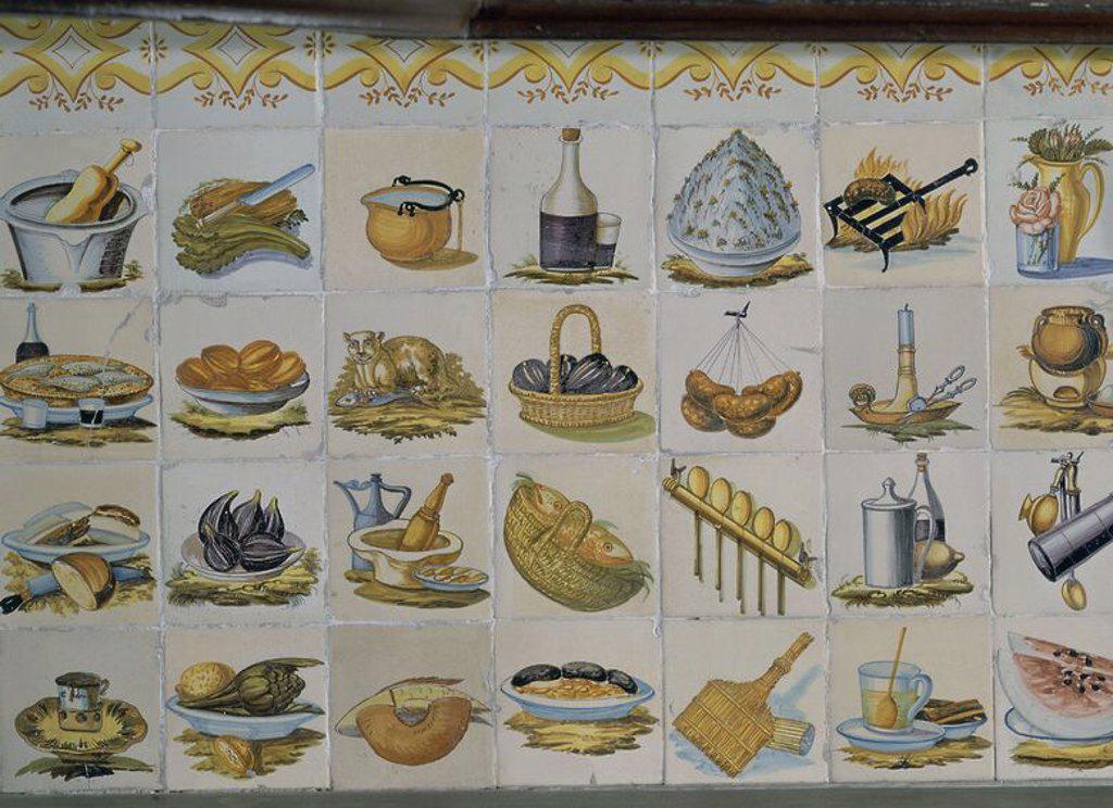 Panel de azulejos cocina valenciana ceramica manises for Cocina valenciana